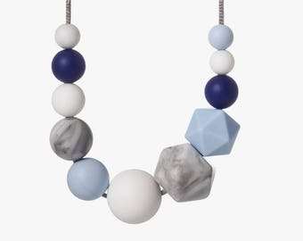Nordic Skies Teething Necklace - Breast Feeding Necklace - Silicone Teething Necklace BPA Free - Teether Chewing Beads - Baby Chew Necklace