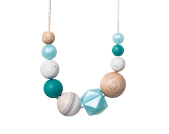 Mist Teething Necklace - Breast Feeding Necklace - Silicone Teething Necklace - BPA Free - Teether Chewing Beads - Chew Jewellery