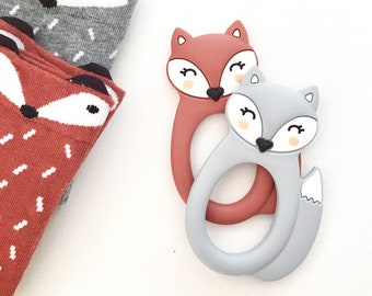 Grey Silicone Fox Teether - Teething Toy - Silicone Teether - Baby Teether - Hand held Teether for babies - Baby Shower Gift