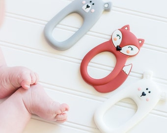 White Silicone Bear Teether - Teething Toy - Silicone Teether - Baby Teether - Hand held Teether for babies - Baby Shower Gift