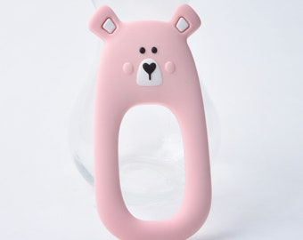 Pink Silicone Bear Teether - Teething Toy - Silicone Teether - Baby Teether - Hand held Teether for babies - Baby Shower Gift