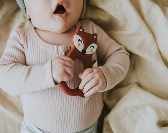 Maroon Silicone Fox Teether - Teething Toy - Silicone Teether - Baby Teether - Hand held Teether for babies - Baby Shower Gift