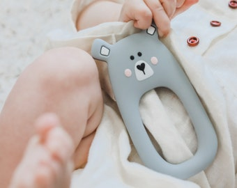 Grey Silicone Bear Teether - Teething Toy - Silicone Teether - Baby Teether - Hand held Teether for babies - Baby Shower Gift