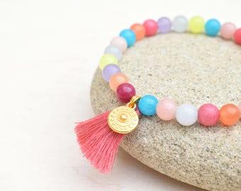 Boho tassel bracelet, Pastel bracelet, Boho jewelry, Stone beads bracelet, Tassel jewelry, Gift for her, Pink bracelet, Stretch bracelet