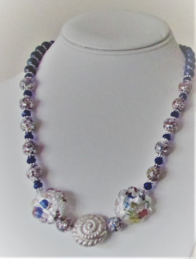 Dreaming of Silver and the Sea unique statement necklace of Thai silver and Venetian glass