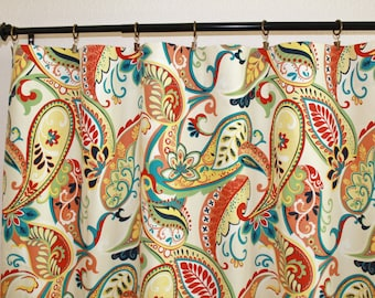 Curtains Pair Of 25 Wide Covington Whimsy Paisley Mardi Gras Rod Panels Drapes 25x63 25x84 25x96 25x108 25x120 Also In Multi Color