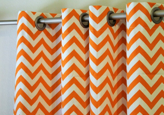 Paire De 25 Chevron Large Orange Et Blanche Zigzag Etsy