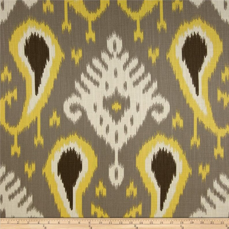 Pair 50 wide rod pocket Dwell Studio Batavia Citrine curtains panels drapes 50x63 50x84 50x96 50x108 grey taupe gold ivory