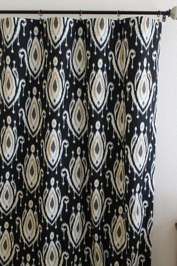 Pair 50 wide Waverly Perfect Fit NIghtfall rod pocket panels drape curtains 50x63 50x84 50x96 50x108 charcoal khaki black ivory