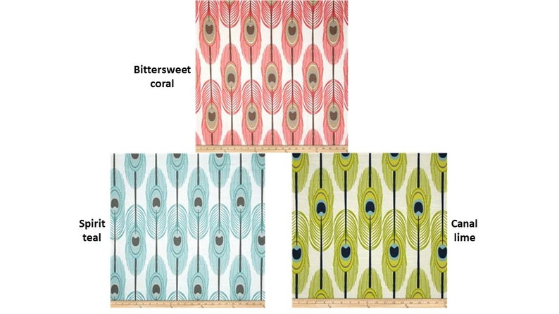 Two curtain drapes 25 wide Premier Print Peacock feathers spirit 5x63 25x84 25x96 25x108 cafe curtains blue lime green coral bitterweet