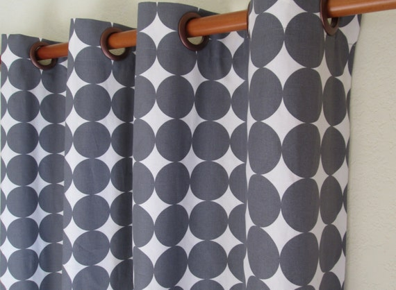 Pair Of 50 Wide Dwell Studio Dotscape Fabric Rod