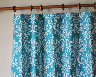 """Curtains Pair of 50"""" wide Premier Prints Ozborne damask True Turquoise rod pocket panels drapes cafe curtain 50x63"""" 50x84"""" 50x96"""" 50x108"""""""