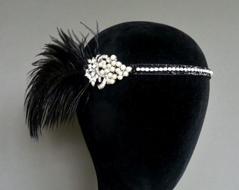Black Feather Flapper Headband Headpiece 1920s Fascinator Art Deco 20s Pearl Crystal Diamante Bows Ribbon Ties