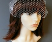 White Birdcage Veil Wedding Bridal Bandeau with double gold or silver plated combs french netting blusher veil 'Lyla'