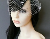 Birdcage Veil White Dots Wedding Bridal Bandeau with double gold or silver plated combs french netting blusher veil 'Minnie'