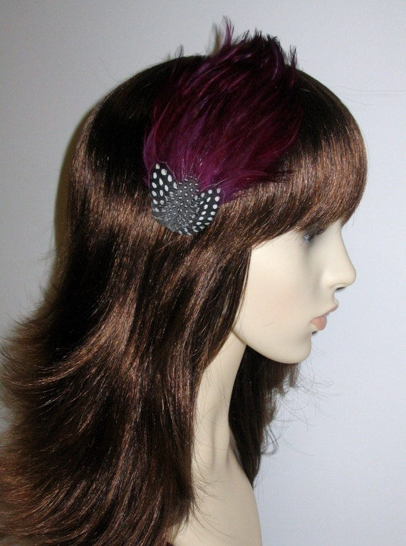 Plum Dark Purple Feather Fascinator HAIR CLIP Bridesmaids Hair  e4650e03877