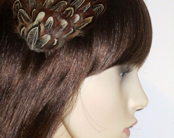 Brown and Cream Feather Hair Clip  Almond Feathers Handmade Hair Accessory Fascinator Head piece