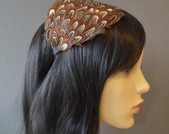 Brown Feather Headband Fascinator Wedding Cream Black Almond Feathers Handmade Hair Accessory Head Piece