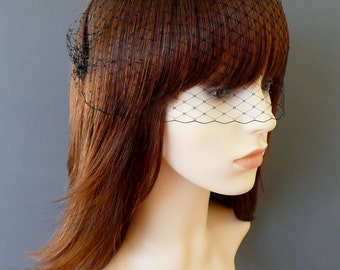 Black Birdcage Veil Bandeau with double gold or silver plated combs french netting blusher funeral veil 'Lyla'