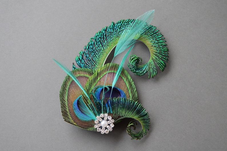 Peacock Feather Hair Clip Jade Green Fascinator 1920 s  a79d9ff93cd