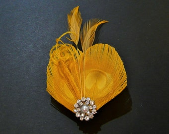Yellow Peacock Feather Hair Clip Fascinator Headpiece Bridesmaids Hair Accessory Wedding Crystal Diamante Pearl 'Lisette'