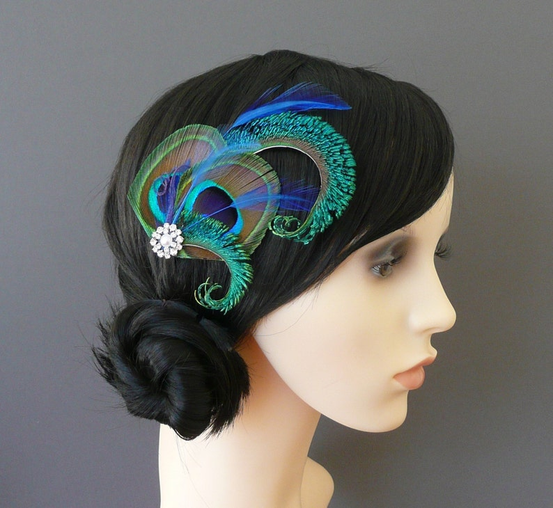 Peacock Feather Hair Clip Royal Blue Fascinator 1920's image 0