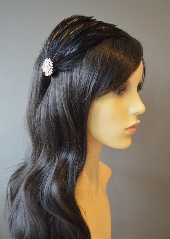 eb0f63b8 Black Feather Headband Fascinator Pearl and Crystal Bridal | Etsy