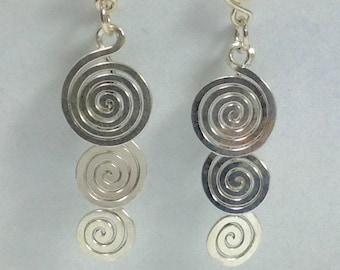 Silver Earrings 3 Spirals