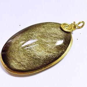 golden sheen Moonstone pendant gold wire wrap 40ct