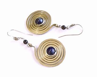 "Spiral Earrings ""Espiral de la vida"" LapizLazuli"