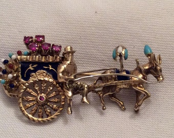 18K 18K Yellow Gold Ruby and Enamel Brooch, Horse & Gypsy Carriage Brooch, Peplumed Horse, Marked 750, Italy, 18K Gold Jewelry