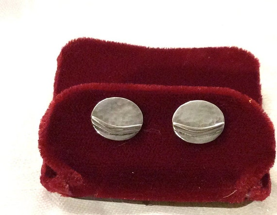 Vintage Hammered Silver Disk Earrings, Post Earrin
