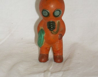 Vintage Porcelain Aquarium Decoration,Vintage Figurine for Fish Bowl, Orange Diver with Blue Goggles