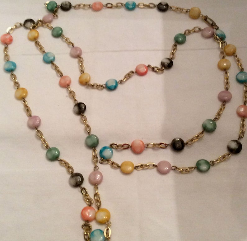 Feather Weight Beads Vintage Beads Pastel Flat Beads on Chain Soft Multi Colored Beads Hipster Beads