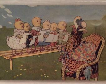 "Easter Postcard, Vintage Easter Postcard, Mother Hen Directing Chicks in Chorus, Teacher Hen with Student Chicks, ""A Joyful Easter"""
