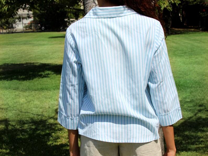 Vintage Painted Blue Pinstripe Button Shirt