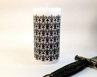 Fleur De Lis Decor, Gothic Candle, Gothic Home Decor, Medieval Home Decor, Black Candle Decor, Victorian Gothic Revival Decorative Candle