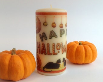 Happy Halloween Decoration, Halloween Candle, Retro Halloween Decor, Rustic Fall Decor, Halloween Mantle, Halloween Table Decor, Black Cat