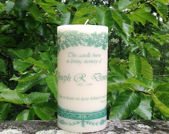Evergreen Memorial Candle, Wedding Memorial Candle, Personalized Candle, Sympathy Gift, In Loving Memory Candle, Memorial Candle Wedding