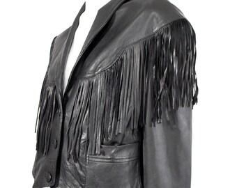 Vintage Black Leather Cropped FRINGE  Jacket Coat M/ L
