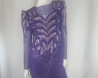 68ddd53dfa7a Vintage SCALA Purple Sequins Beaded Dress Small