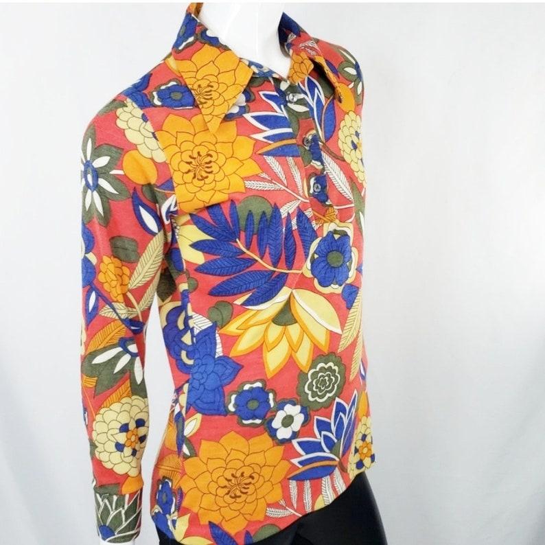 Vintage 60s Flowers Hippie Top S