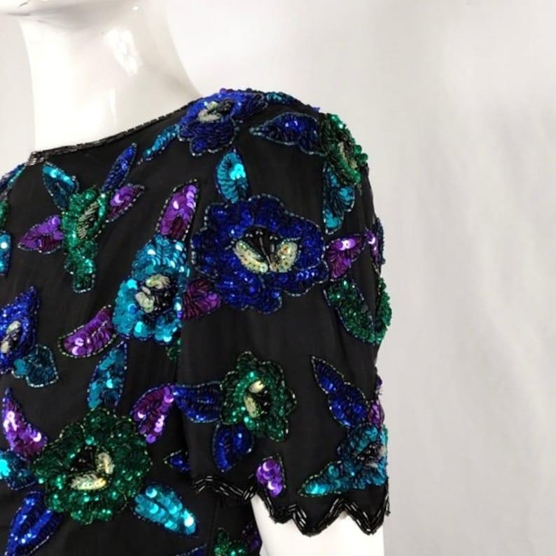 Vintage Lawrence Kazar Black Blue Purple Sequins Top S