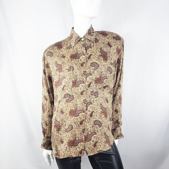 Vintage Brown Paisley Silk Blouse L/XL