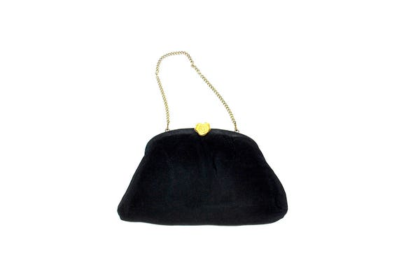 Vintage des années 60 en tissu noir tissu Cocktail sac à main sac à main de soirée