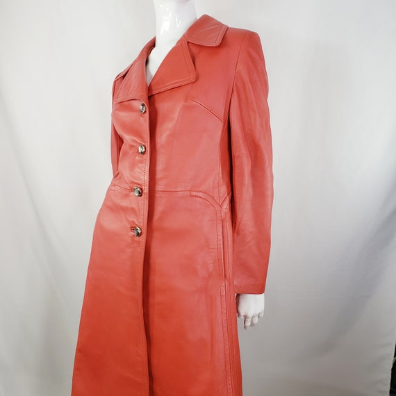 Vintage Red Leather Trench Coat Medium