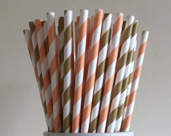 Peach and Gold Paper Straws Coral and Gold Striped Party Supplies Party Decor Bar Cart Cake Pop Sticks Mason Jar Straws Graduation