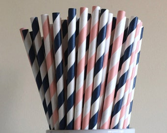 Pink and Navy Paper Straws Blush Pink and Navy Blue Striped Party Supplies Gender Reveal Party Baby Shower Decor Cake Pop Stick Bar Cart