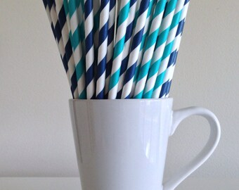Teal and Navy Blue Striped Paper Straws Navy and Aqua Party Supplies Party Decor Bar Cart Cake Pop Sticks Graduation Party Graduation