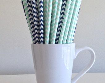 Mint Green and Navy Blue Chevron Paper Straws Party Supplies Party Decor Bar Cart Cake Pop Sticks Mason Jar Straws Graduation